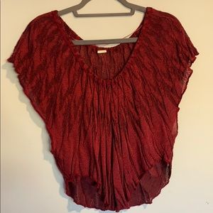 Free people dark red stretchy blouse